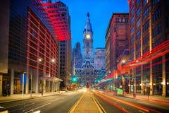 Philadelphias stadshus på natten Arkivbilder