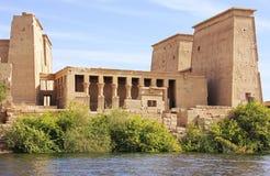 Philae tempel, sjö Nasser Arkivfoton