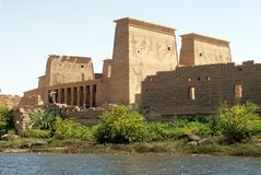 Philae Temple. In Egypt. Built by Greek Ptolemaic dynasty and the Roman Principate stock photos