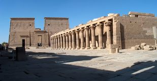 Philae temple. Panoramic view of the egyptian temple of Philae stock images