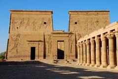 Philae temple. The wall in temple of Philae, Egypt Stock Photos