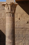 Philae Temple. A column from the Temple of Isis on the Philae Island near Aswan, Egypt Stock Photography