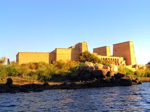 Philae temple. This is a part of the Philae temple located on Nasser Lake near Aswan, Egypt. Instead of many other temples which were originally located in the Stock Images