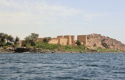 Philae temple on Agilkia Island as seen from the Nile. Egypt. Stock Photography