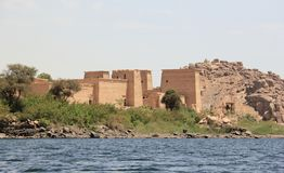 Philae temple on Agilkia Island as seen from the Nile. Egypt. Royalty Free Stock Image