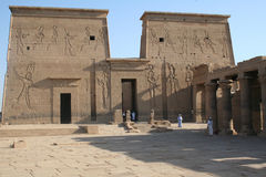 "Philae Temple - Ancient Egyptian Monument. The ancient Egyptians called the Philae islands ""P-aaleq"" which has the dual meaning of end and creation. In 1902 Royalty Free Stock Photo"