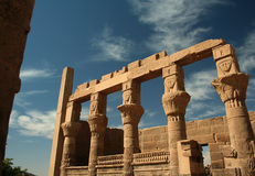Philae Temple, Aswan, Egypt. Columns depicting Hathor at the Philae Temple, Aswan Stock Photos