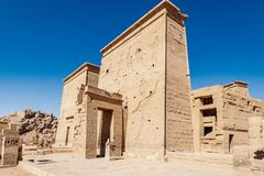 Philae Temple dedicated to Isis Goddess in Egypt near Aswan. Egyptian civilization history well preserved at one of the most well known Egyptian temples in stock photography