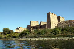 Philae Temple in Egypt. Sunny illuminated Temple of Philae in Egypt (Africa Royalty Free Stock Image
