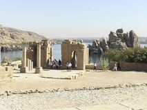 Philae Temples - Egypt. Tourists visiting one of the  Philae Temples on the Agilkia island, Egypt, Africa Stock Images