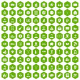 100 philanthropy icons hexagon green Royalty Free Stock Image