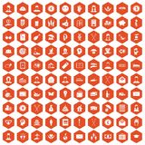 100 philanthropy icons hexagon orange. 100 philanthropy icons set in orange hexagon isolated vector illustration Stock Photo