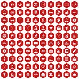 100 philanthropy icons hexagon red. 100 philanthropy icons set in red hexagon isolated vector illustration Stock Photo