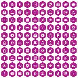 100 philanthropy icons hexagon violet. 100 philanthropy icons set in violet hexagon isolated vector illustration Stock Illustration