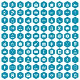 100 philanthropy icons sapphirine violet. 100 philanthropy icons set in sapphirine hexagon isolated vector illustration Royalty Free Stock Photo
