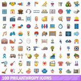 100 philanthropy icons set, cartoon style. 100 philanthropy icons set. Cartoon illustration of 100 philanthropy vector icons isolated on white background Royalty Free Stock Photos