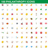 100 philanthropy icons set, cartoon style. 100 philanthropy icons set in cartoon style for any design vector illustration Royalty Free Stock Photos