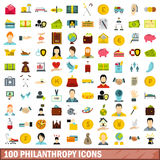 100 philanthropy icons set, flat style Royalty Free Stock Photo