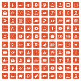 100 philanthropy icons set grunge orange. 100 philanthropy icons set in grunge style orange color isolated on white background vector illustration Royalty Free Stock Photo