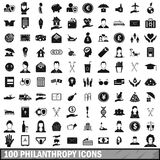 100 philanthropy icons set, simple style. 100 philanthropy icons set in simple style for any design vector illustration Royalty Free Stock Photos