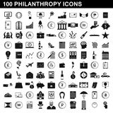 100 philanthropy icons set, simple style. 100 philanthropy icons set in simple style for any design vector illustration royalty free illustration