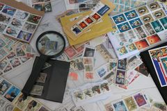 Assortment of world stamp. Philatelic collection. royalty free stock image