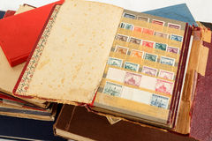 Philatelic stamp collection albums. Very old philatelic stamp collection albums Stock Image