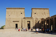 PHILEA TEMPLE. EGYPT NOV. 23: The complex was dismantled and relocated to nearby Agilkia Island during a UNESCO project started because of the construction of Royalty Free Stock Images