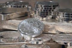 Philharmonic Austrian Silver Coin. Philharmonic Austrian Silver Bullion One Ounce Coin Stock Images