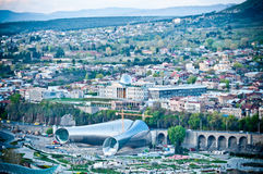 Philharmonic building and panoramic view in Tbilisi Stock Images