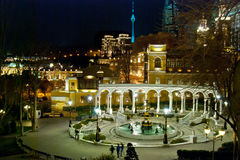 Philharmonic Gardens. Night in the newly refurbished Philharmonic gardens in Baku, Azerbaijan Stock Images