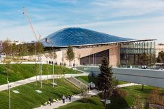 Philharmonic in new Zaryadye Park, urban park located near Red Square in Moscow, Russia. Moscow, Russia - September, 2017: Philharmonic concert hall in new Royalty Free Stock Photography
