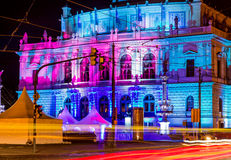 The philharmonic orchestra building in Prague, Czech Republic at night Royalty Free Stock Photography