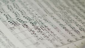 Philharmony Orchestra Conductor`s Sheet Music. Lviv, Ukraine - June, 2017: Close up of philharmony orchestra conductor`s sheet music. Indoor. No people Royalty Free Stock Photography