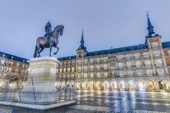 Philip ΙΙΙ στο δήμαρχο Plaza στη Μαδρίτη, Ισπανία. Στοκ Φωτογραφίες