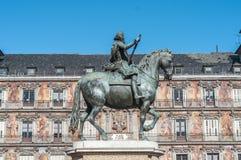 Philip ΙΙΙ στο δήμαρχο Plaza στη Μαδρίτη, Ισπανία Στοκ φωτογραφία με δικαίωμα ελεύθερης χρήσης
