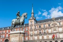 Philip ΙΙΙ στο δήμαρχο Plaza στη Μαδρίτη, Ισπανία Στοκ Εικόνα