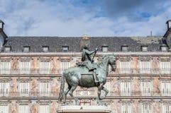 Philip III on the Plaza Mayor in Madrid, Spain. Stock Photo