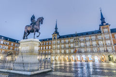 Philip III on the Plaza Mayor in Madrid, Spain. Stock Photos