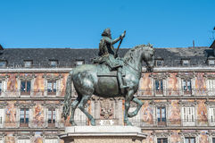 Philip III on the Plaza Mayor in Madrid, Spain. Royalty Free Stock Photography