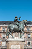Philip III on the Plaza Mayor in Madrid, Spain. Royalty Free Stock Image