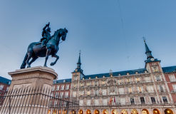 Philip III on the Plaza Mayor in Madrid, Spain. Stock Images