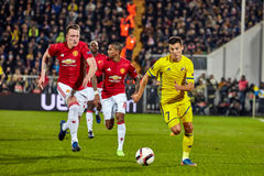 Philip Jones, Game moments. In match 1/8 finals of the Europa League between FC `Rostov` and `Manchester United`, 09 March 2017 in Rostov-on-Don, Russia Royalty Free Stock Photos