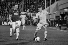 Philip Jones, Game moments. In match 1/8 finals of the Europa League between FC `Rostov` and `Manchester United`, 09 March 2017 in Rostov-on-Don, Russia Stock Images