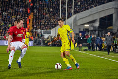 Philip Jones, Game moments. In match 1/8 finals of the Europa League between FC `Rostov` and `Manchester United`, 09 March 2017 in Rostov-on-Don, Russia Stock Image