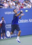 Philipp Kohlschreiber under den fjärde runda matchen på US Open 2013 mot storslagen Slam för tolv gånger mästaren Rafael Nadal Arkivfoton