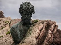 Philippe Cousteau monument. Located on the coast of Salinas. Asturias. Spain Stock Photo