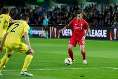 Philippe Coutinho plays at the Europa League semifinal match between Villarreal CF and Liverpool FC Stock Image