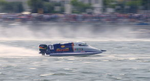 Philippe Tourre. Panning shot of Philippe Tourre during the F1H2O Portimão Grand Prix 2011 royalty free stock image
