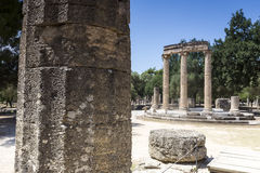 The Philippeion building remains at ancient Olimpia archaeologic Stock Image